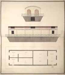 (Plan and side elevations of the King's Floating Baths at) Weymouth 12h